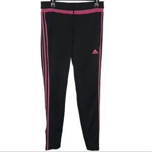 Adidas Pink and Black Joggers Size Medium